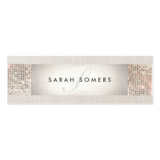 Elegant Striped Beige, FAUX Silver Sequin Monogram Pack Of Skinny Business Cards