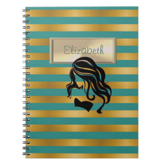 Elegant,Striped, Girl Silhouette,Personalized Notebooks