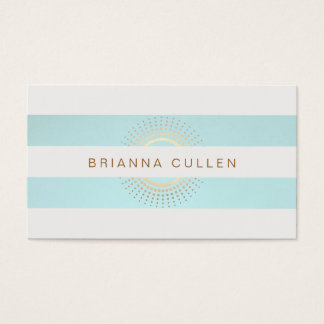 Elegant Striped Turquoise and Gold Circles Business Card