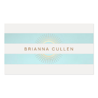 Elegant Striped Turquoise and Gold Circles Pack Of Standard Business Cards
