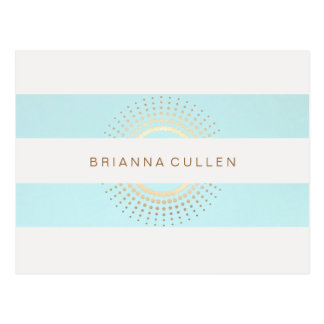 Elegant Striped Turquoise and Gold Circles Postcard