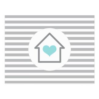 Elegant stripes house heart new address moving postcard