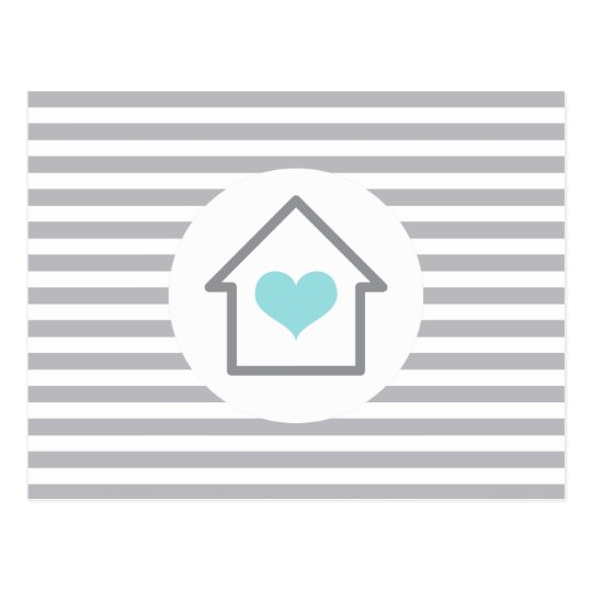 Elegant stripes house heart new address moving postcard
