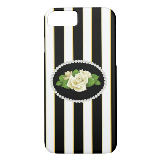 Elegant Stripes & White Roses Phone & Ipad Case