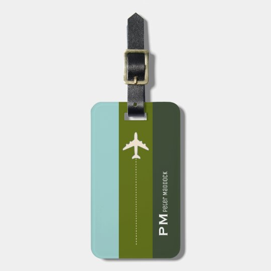 elegant stripes with aeroplane, custom travel luggage tag