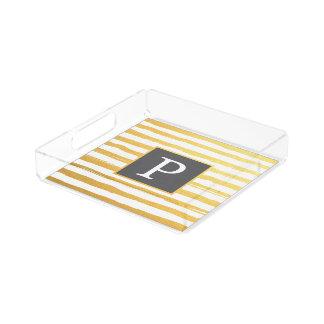 Elegant Stroke Stripes Yellow & Grey Acrylic Tray
