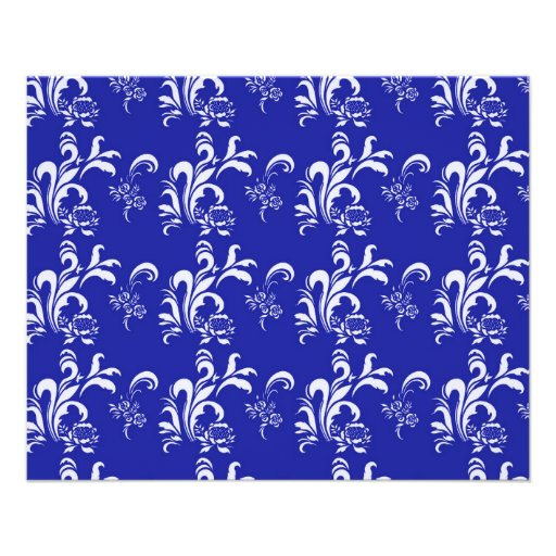 elegant, stylish and classic white damask pattern full color flyer