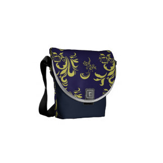 elegant, stylish and classic yellow damask pattern courier bags