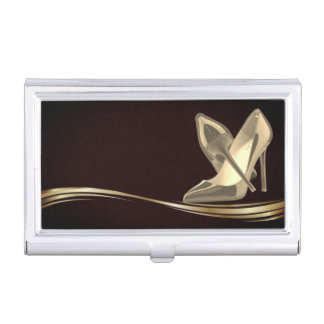 Elegant Stylish Black- Gold- Heels Business Card Holder