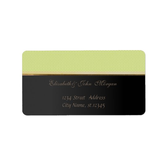 Elegant  Stylish Black,Green Polka Dots Address Label