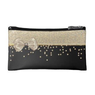 Elegant Stylish Black- Shiny Foil Confetty-Diamond Cosmetic Bag