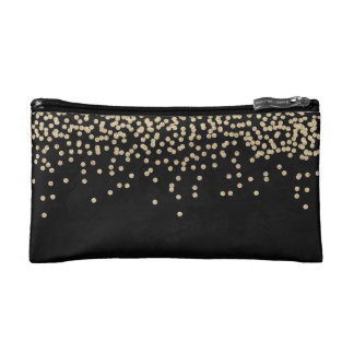 Elegant Stylish Black- Shiny Foil Confetty-Diamond Cosmetic Bags