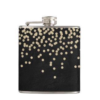 Elegant Stylish Black- Shiny Foil Confetty-Diamond Hip Flask