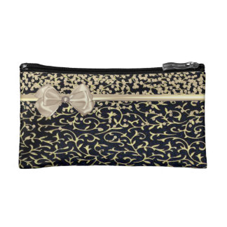 Elegant Stylish Black- Shiny Foil Confetty-Diamond Makeup Bag