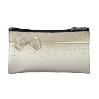 Elegant Stylish ,Bow- Shiny Foil Confetty-Diamond Cosmetic Bag