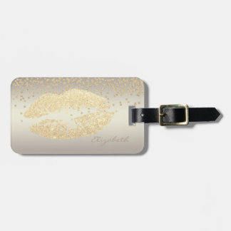 Elegant Stylish Chic - Shiny Foil Confetty,Lips Luggage Tag