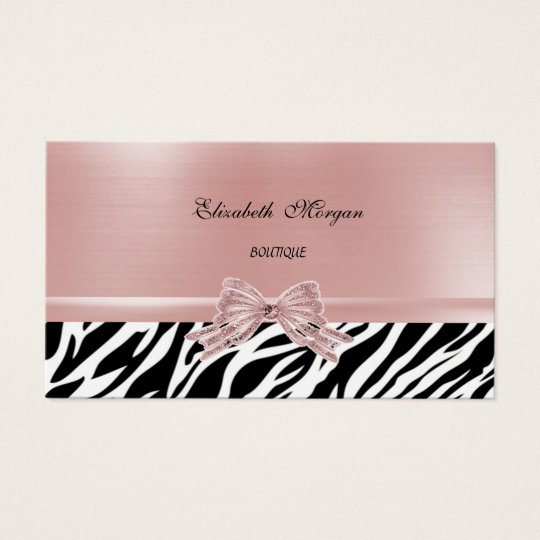 Elegant Stylish Chic Zebra Print,Pink Bow Business Card