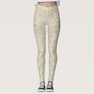 Elegant Stylish Cream Damask Pattern Leggings