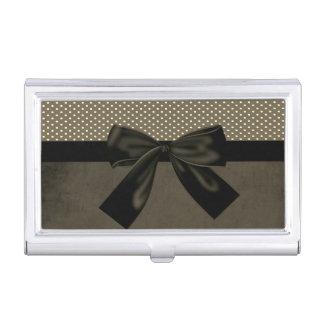 Elegant Stylish Cute  Polka Dots-Black Bow Business Card Holder