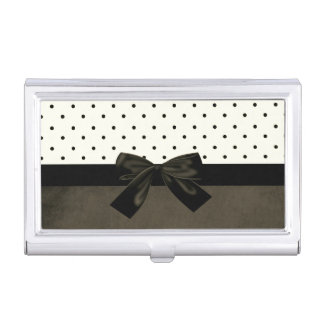 Elegant Stylish Cute Polka Dots-Black Bow Business Card Holder