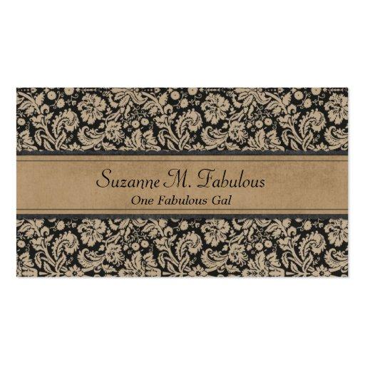 Elegant Stylish Damask in Dark Cream and Black Business Card Template