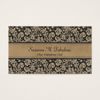 Elegant Stylish Damask in Dark Cream and Black Business Card