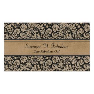 Elegant Stylish Damask in Dark Cream and Black Pack Of Standard Business Cards