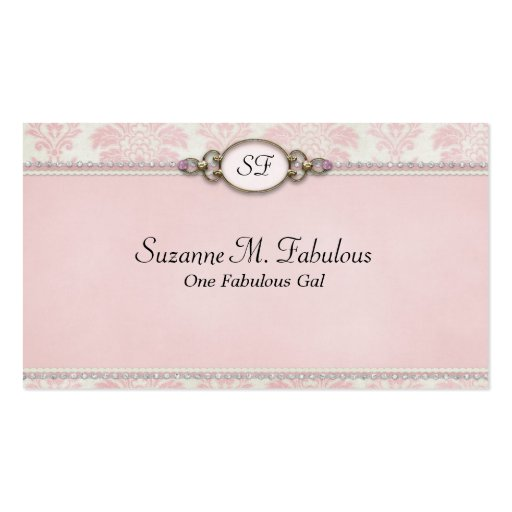 Elegant Stylish Damask in Pink Cream Business Card Template