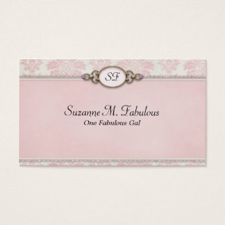 Elegant Stylish Damask in Pink Cream Business Card