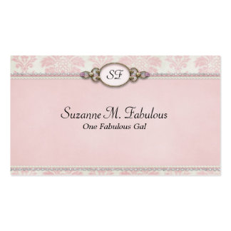 Elegant Stylish Damask in Pink Cream Pack Of Standard Business Cards