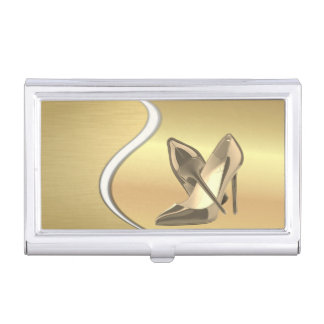 Elegant Stylish- Faux Gold-Glittery -Heels Business Card Holder