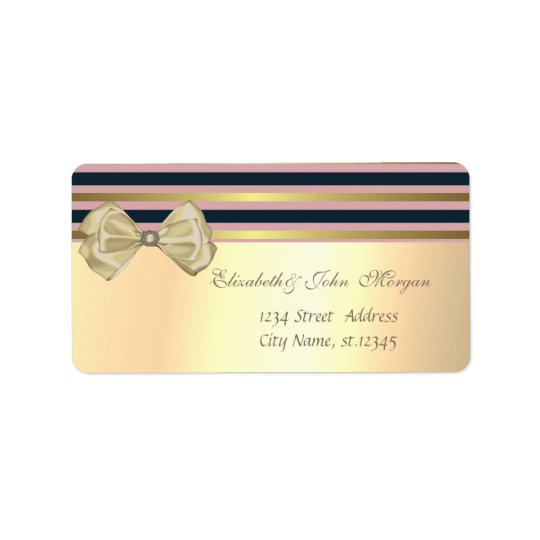 Elegant  Stylish Faux Gold,Striped,Bow Label