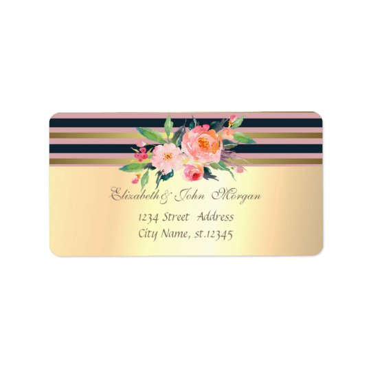 Elegant  Stylish Faux Gold,Striped,Flowers Label