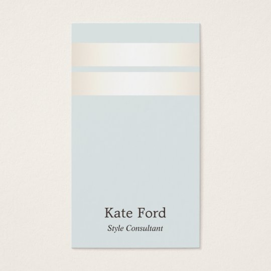 Elegant Stylish Faux Satin Gold Striped Light Blue Business Card