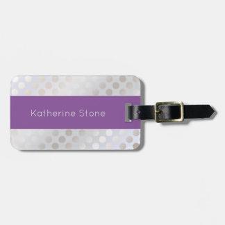 Elegant stylish faux silver polka dots pattern luggage tag