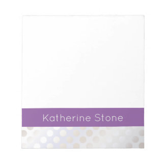 Elegant stylish faux silver polka dots pattern notepads