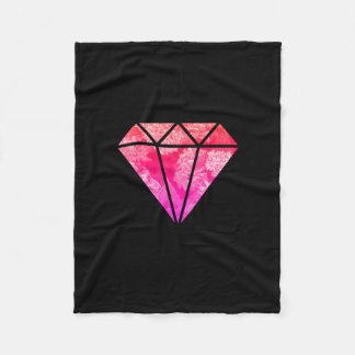 elegant stylish floral pink orange diamond black fleece blanket