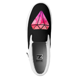 elegant stylish floral pink orange diamond black Slip-On shoes