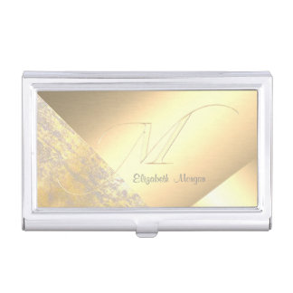 Elegant Stylish,Geometric Faux Gold-Monogram Business Card Holder
