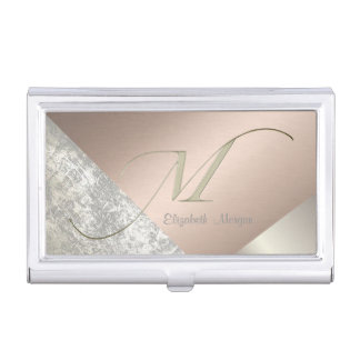 Elegant Stylish,Geometric-Monogram Business Card Holder