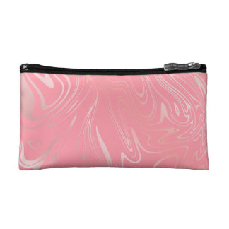 Elegant stylish girly rose gold marble look pink makeup bag
