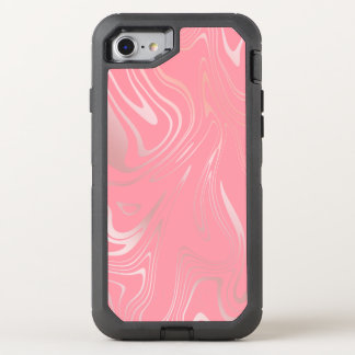 Elegant stylish girly rose gold marble look pink OtterBox defender iPhone 8/7 case