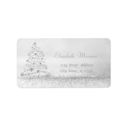 Elegant Stylish  Glittery,Bokeh,Christmas Tree Label