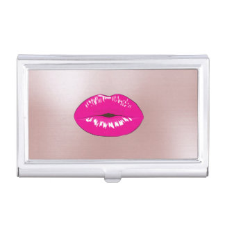 Elegant Stylish Glittery- Pink-  Lips Business Card Holder