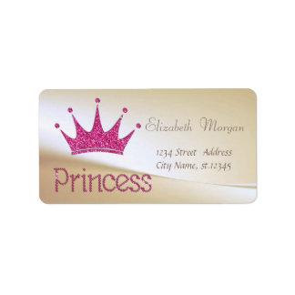 Elegant  Stylish Glittery Tiara Princess Address Label