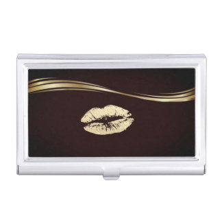 Elegant Stylish Gold- Glittery Lip Business Card Holder