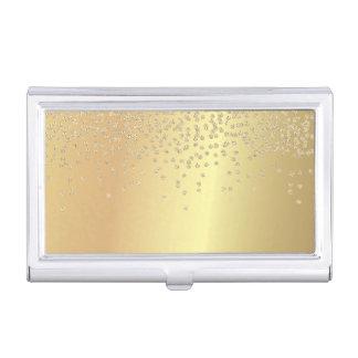 Elegant Stylish Gold- Shiny Foil Confetty-Diamond Business Card Holder