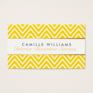 ELEGANT stylish gold strip chevron bright yellow Business Card