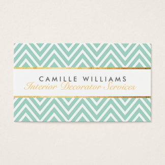 ELEGANT stylish gold strip chevron pattern mint Business Card