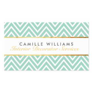 ELEGANT stylish gold strip chevron pattern mint Pack Of Standard Business Cards